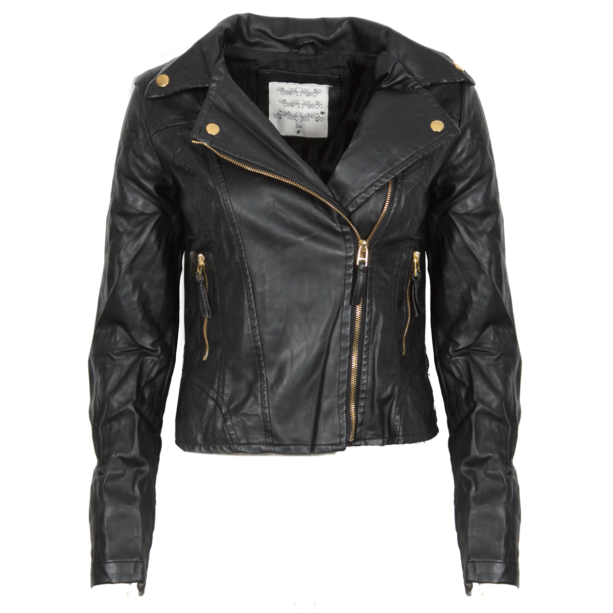 Black Creased Cropped Leather Look Jacket Preview